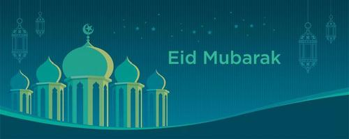 Mosque banner  with curved line and mosque  vector