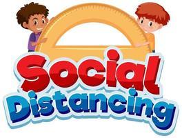 cartaz de distanciamento social com meninos e transferidor vetor