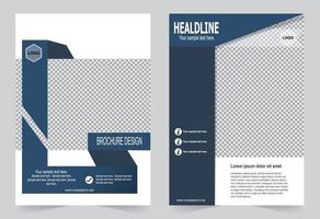 Navy blue annual report cover. vector