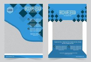 Blue Annual report cover set vector