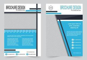 Blue cover brochure template set. vector