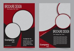 Red and black brochure template design vector