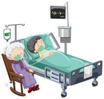scena ospedaliera con paziente malato con visitatore anziano
