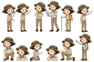 Chica en traje de safari en diferentes poses vector