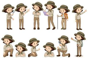 Chica en traje de safari en diferentes poses