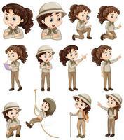 Conjunto de chicas en ropa de safari en diferentes poses