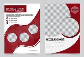 plantilla de folleto rojo y blanco. vector