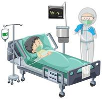 Hospital scene with sick child patient in bed on white background vector