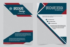 conjunto de folleto de cubierta roja y azul vector