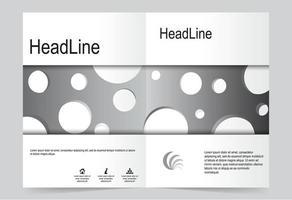 conjunto de portada de folleto frontal y posterior plateado vector