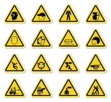 Warning signs and industrial hazards icon yellow labels set vector