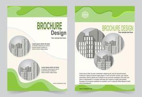 Conjunto de diseño de flyer ola verde. vector
