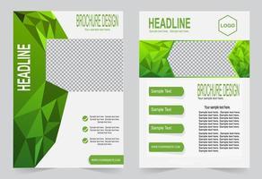 Green polygon cover brochure set vector