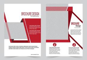 Red brochure template with photo frames