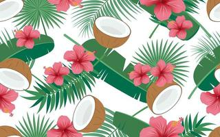 Tropical seamless pattern with flowers and coconuts