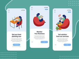 Onboarding business mobile application screen set