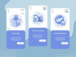 Set of onboarding mobile screens for delivery service