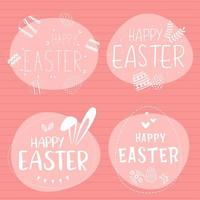 White and pink Happy Easter doodle lettering set vector