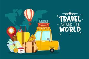 World travel by car with travel related items