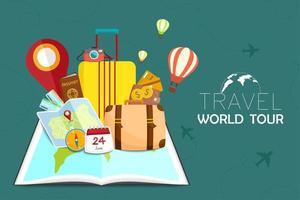 libro abierto con artículos relacionados con viajes