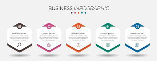 5 step business infographic with hexagons