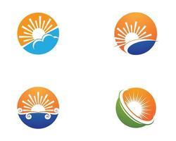 conjunto de logotipo do sol de verão vetor