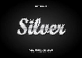Metallic silver text effect vector