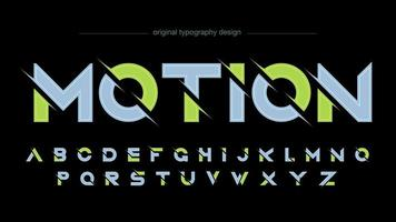 Futuristic Green Grey Sliced Uppercase Typography vector