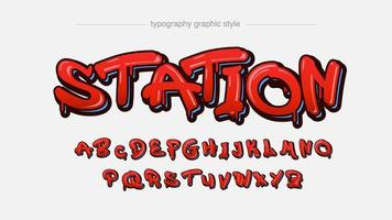 Red Dripping Graffiti Style Artistic Font vector