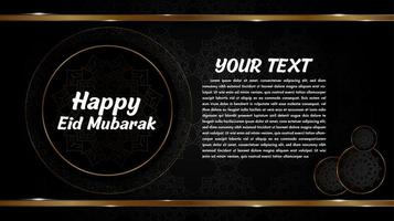 Eid Mubarak design with mandalas in golden circles