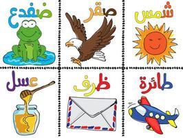 Doodle conjunto de elementos y alfabeto árabe de estilo vector