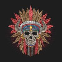 Front View of Colorful Apache Chief Skull Head vector