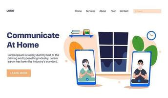 Landing page with masked people on video call vector