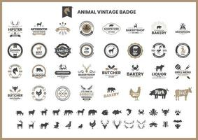 Vintage Badge Set with Pigs and Other Animals  vector