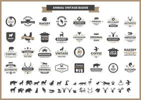 Vintage Badge Set with Rhino and Other Animals  vector
