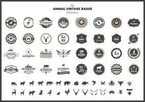 distintivo vintage com flamingo e outros animais vetor
