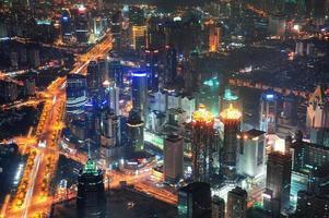 Vista aérea de la noche de Shangai