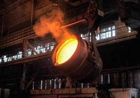 smelting of the metal in the foundry photo