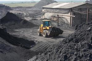 Wheel loader machine loading coal photo