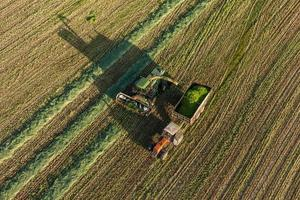 aerial view of harvest fields with combine and tractor