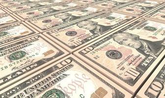 Fondo de pilas de billetes de dólar americano. foto