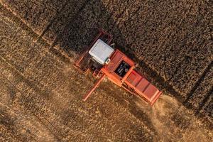 Vista aérea de combinar no campo de colheita