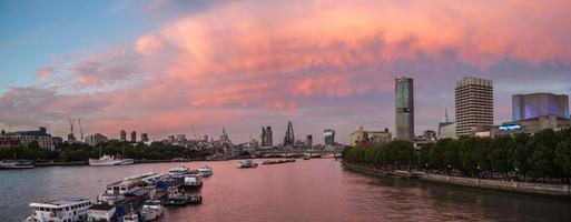 Red sunset clouds in the City of London, panorama