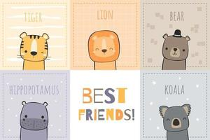 Cute Animals Best Friends Card Design