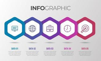 modelo de infográfico de negócios modernos de forma hexágono