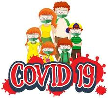 affiche Covid-19 avec une famille portant des masques vecteur