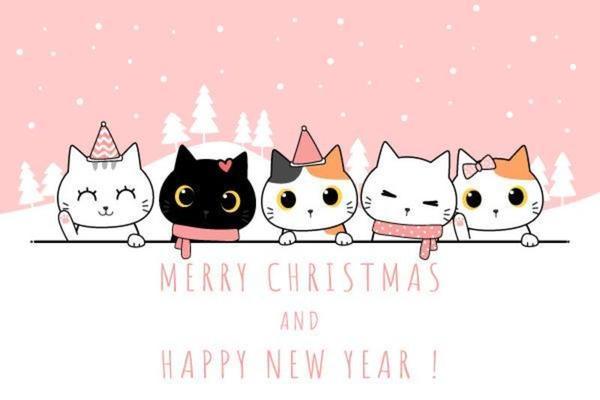cute cat family cartoon doodle pastel wallpaper