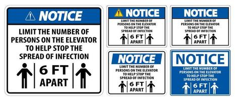 Notice Elevator Physical Distancing Sign Set