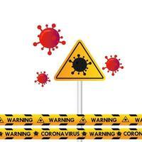 coronavirus de advertencia de señal de tráfico vector