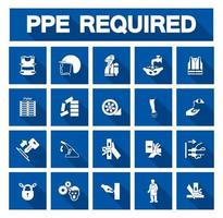 Required Personal Protective Equipment Blue Icon Collection vector